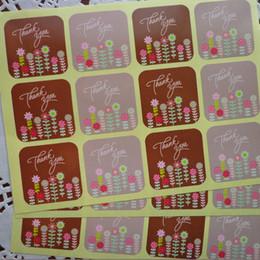 2019 pequeñas pegatinas para el paquete 600pcs / lot cuadrado colorido gracias con la etiqueta engomada del sello del bolso de la hornada de la flor pequeña, etiqueta engomada del paquete del regalo de DIY pequeñas pegatinas para el paquete baratos