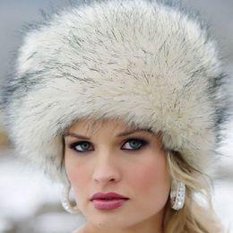 Wholesale Earflap Hat Women - Wholesale- Russian Women Lady Faux Fox Fur Earflap Snow Hat Cossack Style Beanie Warm Cap Winter