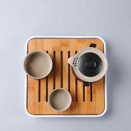 2019 platos de horno de cerámica Bandeja de Té de Bambú Juego de Té de Estilo Japonés Bandeja de Burbujas Secas Bandeja de Bambú Cuadrada Juego de Té Accesorios de Almacenamiento Pequeño Soporte