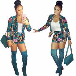 Wholesale blue bodysuit women - Printing Shorts Women 2 Piece Blazer+Pants Jumpsuit Women OL Bodysuit Fashion Club Playsuit