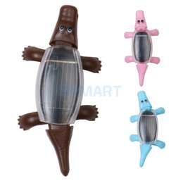 Wholesale Plastic Reptiles - Cute Solar Power Mini Crocodile Reptile Animal Model Kids Educational Toy Home Decoration