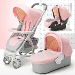 Wiege rosa online-Kinderwagen 3 in 1 High Landschaft Kinderwagen reisen faltbare Kinderwagen Autositz Baby Schlafkorb Neugeborenen Wiege Rosa