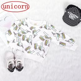 Camisetas de manga larga Unicornio de los niños del bebé Tops de algodón para bebés Muchachas de manga larga Unicorn Ruffle Tops Sudaderas informales 80-120cm, envío gratis desde fabricantes