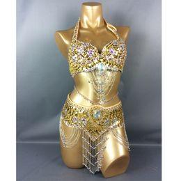 dffd55843 venda quente mulheres dança do ventre suíte cinto + bra + braço banda para  o presente EUA tamanho do sutiã 34B