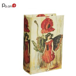 Wholesale Folding Book Holder - Europe Small Wooden Book Boxes Pretty Girl Floral Printed Storage Box Jewelry Sundries Holder Home Organization 14x9x4.5cm