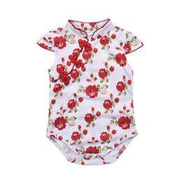 Wholesale red elegant jumpsuits - Mikrdoo Summer Baby Girl Sweet Elegant Cheongsam Clothes Sleeveless Floral Printed Cute Romper Toddler Lovely Jumpsuit