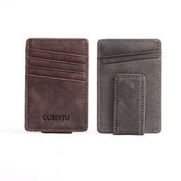 Двойная копия денег онлайн-Leather Slim Mens  wallet Money Clip Color with hasp design Burnished Edges  New Men Bifold Wallets FWH112