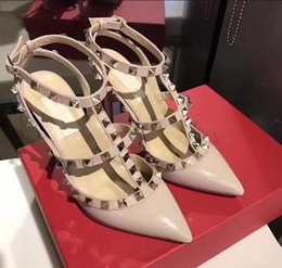 Wholesale sexy nude color dresses - 2018 New Hot sale Women Pumps Ladies Sexy Pointed Toe High Heels Fashion Buckle Studded Stiletto High Heel Sandals Shoes plus size 35-43