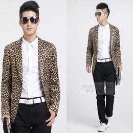 Wholesale leopard print jacket mens - Vintage Mens Leopard Print Blazer Mens Printed Blazer Men Masculino Classic Singer Suit Jacket Veste Homme Costume