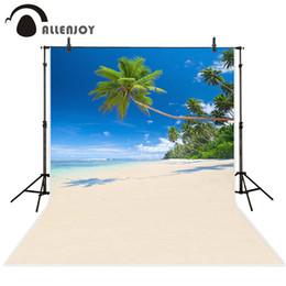 2019 fondo de estudio de playa Allenjoy escenario foto telón de fondo Viaje de verano isla bosque árbol de coco foto playa los fondos de tela para estudio fotográfico rebajas fondo de estudio de playa