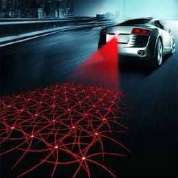 2019 el wire néon bleu Universel LED Voiture Moto Laser Brouillard Lumière Anti Collision Queue Lampe Auto Moto De Freinage Stationnement Signal Avertissement Lampes Car styling