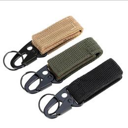 ceinture tactique en nylon noir Promotion Extérieur en nylon tactique sangle cintre boucle ceinture porte-clés alpinisme multifonctionnel crochet olecranon porte-clés
