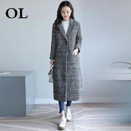 6b30978f9 [OL] 2018 Outono Inverno Nova Coréia Xadrez Casaco De Lã Fino Moda Feminina  Solto Casual Irregular Plus Size Blusão Z303 desconto casacos de inverno  xadrez ...