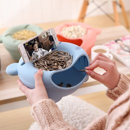 Wholesale Food Tray Holder - Double Layer Snacks Dish 21cm PP Food Fruit Seed Shell Storage Tray Phone Holder Portable Snacks Bowl Home Kitchen
