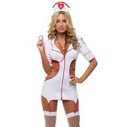 Canada Hot 2018 Sexy Infirmière Costume Costumes Érotiques Jeu de rôle Femmes Lingerie Érotique Femme Sexy Sous-Vêtements Croix-Rouge Uniformes Jeux 35 Offre