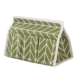 Pañuelos online-Multifunción 6 bolsillos Caja de almacenamiento plegable Lino de algodón Caja de pañuelos de cartón de bombeo verde
