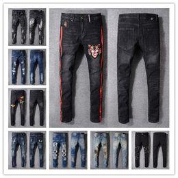Wholesale 29 Jeans For Men - 2018 Men Distressed Ripped Biker Jeans US Size 29 ~ 42 Slim Fit Motorcycle Biker Denim For Men Brand Designer Hip Hop Men Jeans