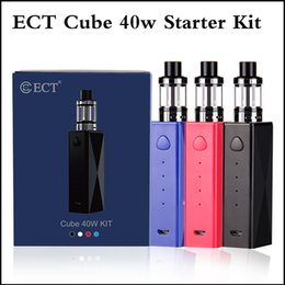 Wholesale E Cigarettes Refills - Authentic ECT Cube 40W e cigarette starter kits with built-in 2200mah VW vape mod and 2.0ml Top refilling ECT Kenjoy Elfin tank