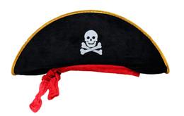 Pirate party supplies online-Accesorios de Halloween cráneo sombrero caribe pirata sombrero cráneo pirata piratería Corsair tapa partido suministros envío gratis