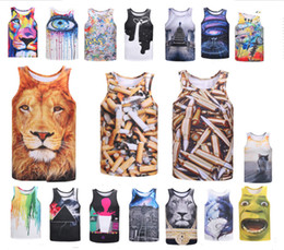 Argentina 2018 Niños de verano para hombre Chaleco de impresión 3D Tigre de color gato impreso Tank Top Chaleco Hombres Novedad O-cuello camisetas moda hiphop calle desgaste venta cheap tank hombre Suministro