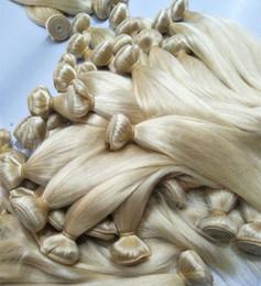 Cabello humano teje marcas online-Marca de color Elibess 300grams Rubio extensiones de cabello humano recto peruano de las tramas de la onda peruana del pelo de Remy gratuito derramamiento de enredos
