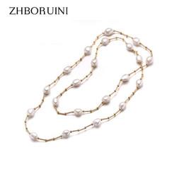 Natürliche barocke perlen großhandel online-Großhandel Hochwertige Mode Lange Perlenkette Barocke Natürliche Süßwasserperle Perlenschmuck Für Frauen Halskette Zubehör