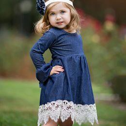 Wholesale Denim Kids Dress - 2-10Y Girl Evening Dress Baby Girls Lace Princess Dress Children Clothes Kids Long Sleeve Denim Party Dresses Autumn Winter