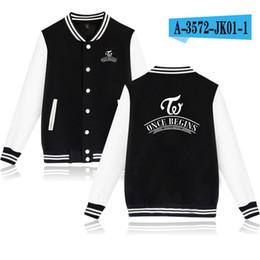 Wholesale Kpop Jacket - Kpop Twice Once Begins Baseball Jackets Moleton Harajuku Boyfriend Style Unisex Sweatshirt Hoodies Cotton Fleece Women Men Coat