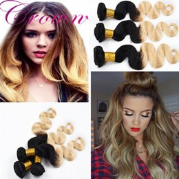 Wholesale Omber Hair Extensions - Brazilian Virgin Hair Hot Sale Omber Color 1B 613 Hair Extensions Fashion Beauty Human Hair Weave Bundles Body Wave