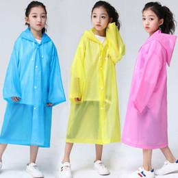 casaco de chuva para meninas Desconto Crianças EVA Raincoats Rainwear Crianças Meninos e Meninas Casaco de Chuva Desgaste Transparente Casacos de Chuva Mangas Compridas Com Chapéu