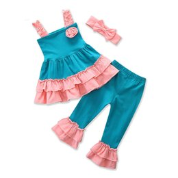Wholesale Wholesale Baby Ruffle Pants - Baby ruffle outfits INS girls headband+Sling top+Flare pants 3pcs set summer Boutique kids Clothing Sets C3549