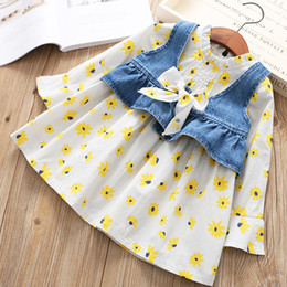 Wholesale Denim Girls Striped Dress - Everweekend Kids Girls Spring 2pcs Sets Print Flowes Bow Cute Dress Denim Blue Color Vest 2pcs Outfits Sweet Children Sets
