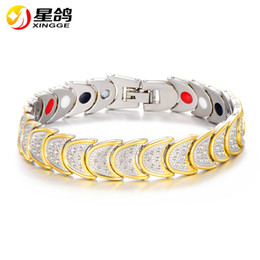 Wholesale Radiation Protection - New Design Moon Chain Magnetic Bracelet Radiation protection Copper Link chain Energy Magnets Charm Bracelets & bangle Wristband Wholesale