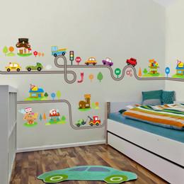 Мультфильм автомобили шоссе трек стены стикеры для детей номеров наклейки детская игровая комната спальня декор стены искусства наклейки cheap kids room decor cars от Поставщики детские декорации автомобилей