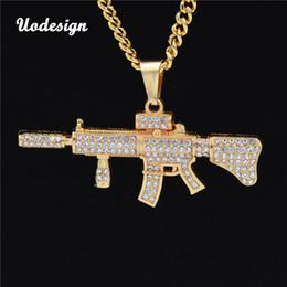 Alliage AK47 Pendentif Pendentif Collier Glacé Sur Strass Avec Hip Hop Miami Chaîne Cubaine Or Couleur Hommes Bijoux ? partir de fabricateur