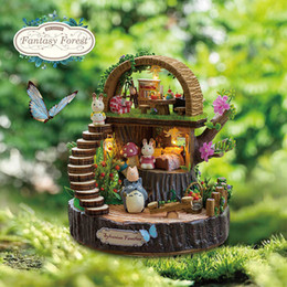 Wholesale Wood Toys Furniture Doll House - Newest Doll House Furniture Diy Miniature 3D Wooden Miniaturas Dollhouse Toys for Children Birthday Gifts Fantasy Forest Y005