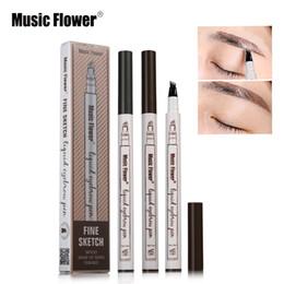 Wholesale Flowers Sketches - 3 Colors Music Flower Brand Makeup Fine Sketch Liquid Eyebrow Pen Waterproof Tattoo Super Durable Eye Brow Pencil Smudge-proof