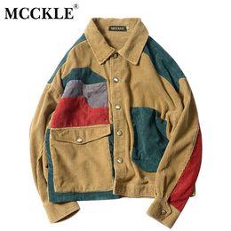 Wholesale Mens Corduroy Jacket Xl - MCCKLE Color Block Patchwork Corduroy Hip Hop Jackets Mens Casual Long Sleeve Pockets Outwear Coats Male Fashion Streetwear