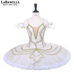 traje de cascanueces Rebajas Adultos Profesional Ballet Tutu Oro Blanco Tutu Pancake Peformance Tutus Cascanueces Ballet Trajes de la Etapa Vestido BT9210