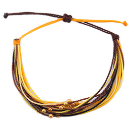 Wholesale rich jewelry - Adjustbale Jewelry with gold beads charm rich leaves black yellow color-mixing South Americanblack wax line bracelet jewelry
