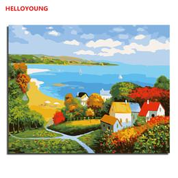 Casa de pinturas a óleo on-line-Beach Villa DIY pintado à mão pintura a óleo Pintura Digital por pinturas a óleo números chineses pinturas de rolagem decoração de casa