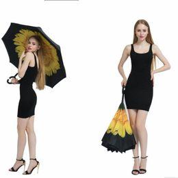 Wholesale Holder For Umbrella - Women Fashion Reverse Umbrellas Folding Double Layer Inverted C Hand Holder Stand Rain Windproof Umbrella For Car