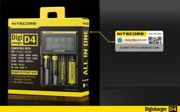 Wholesale 12v Li Ion Batteries - 100% Original Nitecore D4 Battery Charger LCD Intelligent Charger Li-ion 18650 14500 16340 26650 AAA AA 12V Battery Charger 16PCS LOT