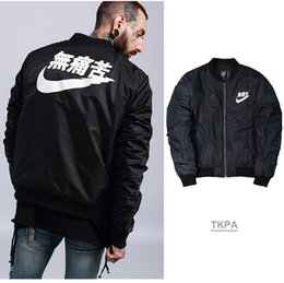 Wholesale pocket pads - TKPA Mens Bomber Jackets Cotton-Padded Warm Thick Coats Navy Blue Color Casual Loose MA1 Style Jacket
