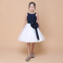 Wholesale Little Girls Tulle Skirts - 2018 Spring New Arrival Double Straps Pretty Girl's Flower Dresses With Sash Navy Top White Skirt Little Princess Dress Eren Jossie Brand