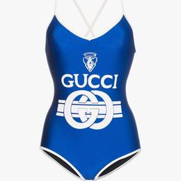 Maiôs de uma peça on-line-Azul Vermelho Um Pedaço Backless Biquíni Swimwear Sexy Imprimir Bandage Alta Corte Senhora Maiô Para As Mulheres Bodysuit Maiôs Praia