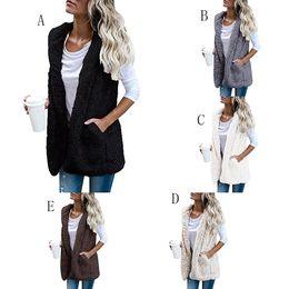 Wholesale Hoodie Vest Women - Women Hooded vest Female Faux Fur Winter Warm Jacket 2018 new Maternity Outerwear 5 colors Coats S M L XL Hoodies C3677