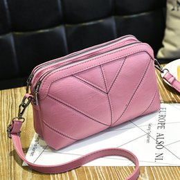 6d9c58046027 2018 spring and summer new shoulder bag female Korean version of the fashion  embroidery line small square bag solid color double bag