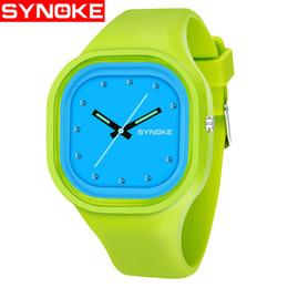 SYNOKE Boys Studente Green Dial Colorful Band impermeabile Sport Watch Brand Women Unique Silicone Band Date orologio da polso 66895 da