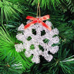 Wholesale Christmas Decorations For Windows - New Christmas decoration 9cm transparent acrylic christmas snowflake for Tree Window Showcase Decoration